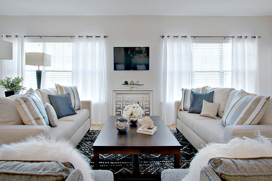 Luxurious Living Area With TV at The Hillside Club, Livingston, NJ, 07039