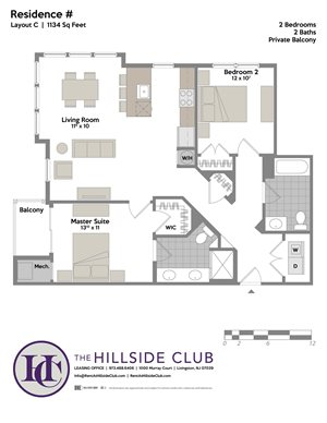 2 Bed 2 Bath Floor Plan at The Hillside Club, New Jersey, 07039