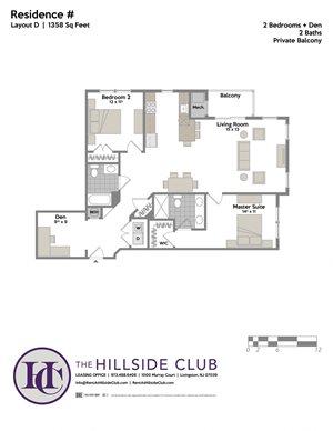 2 Bedroom 2 Bathroom Floor Plan at The Hillside Club, Livingston, NJ, 07039