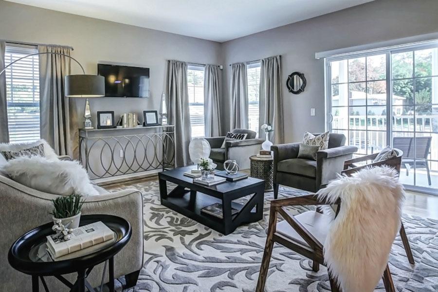 Modern Living Room at The Hillside Club, Livingston, NJ, 07039