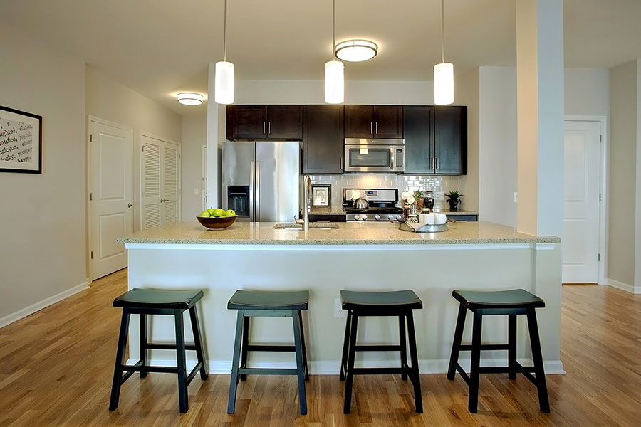 Gourmet Kitchen With Island at The Hillside Club, New Jersey, 07039