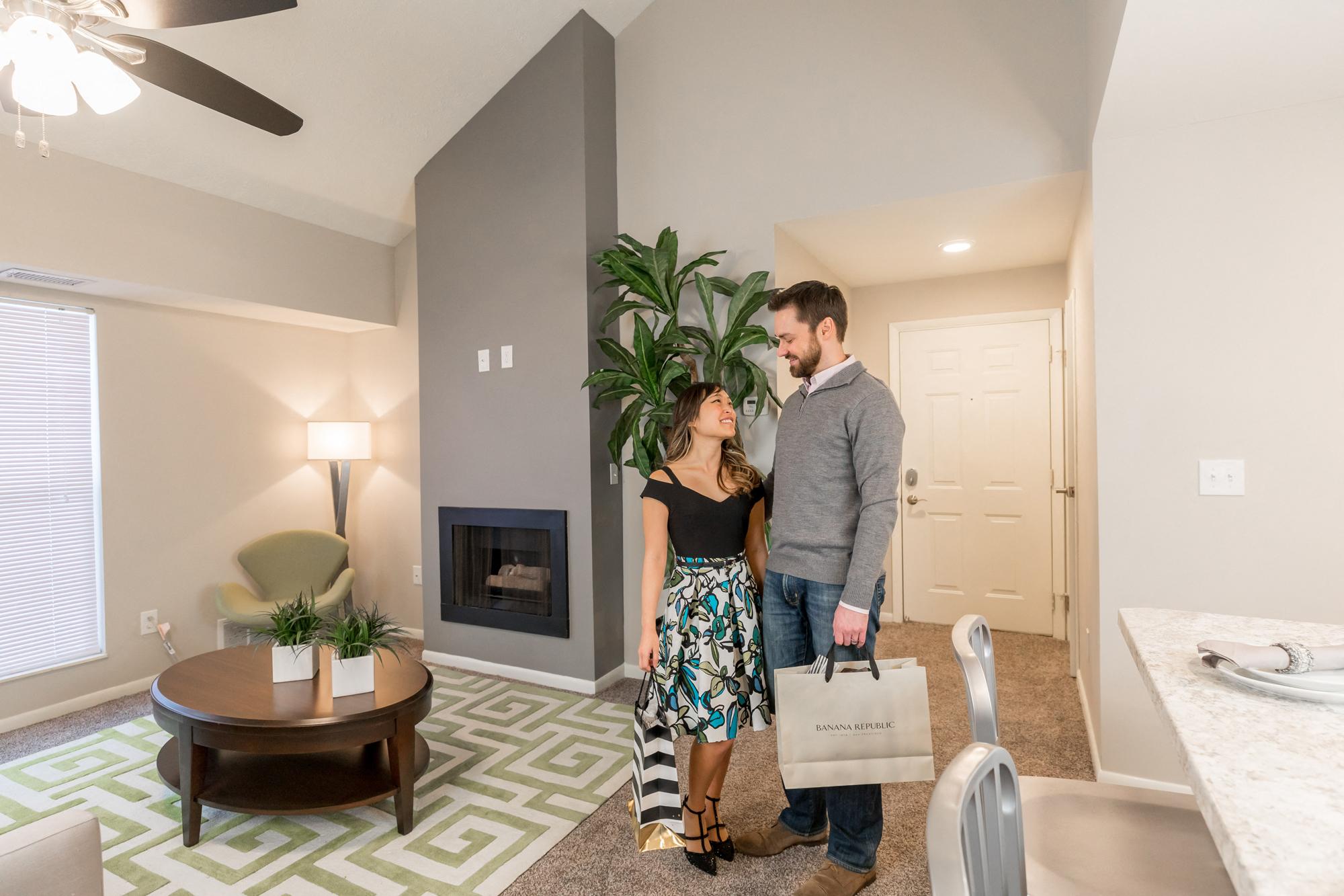 Fireplace in Living Room Pine Lane Estates Apartments in Lansing Michigan