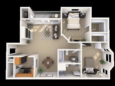 2 Bedroom Apartment Floorplan Pine Lane Estates Apartments