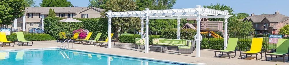 Crystal Clear Swimming Pool with Sundeck and Bbq Grills Throughout at Pilgrim Village - Canton, MI, Canton, Michigan