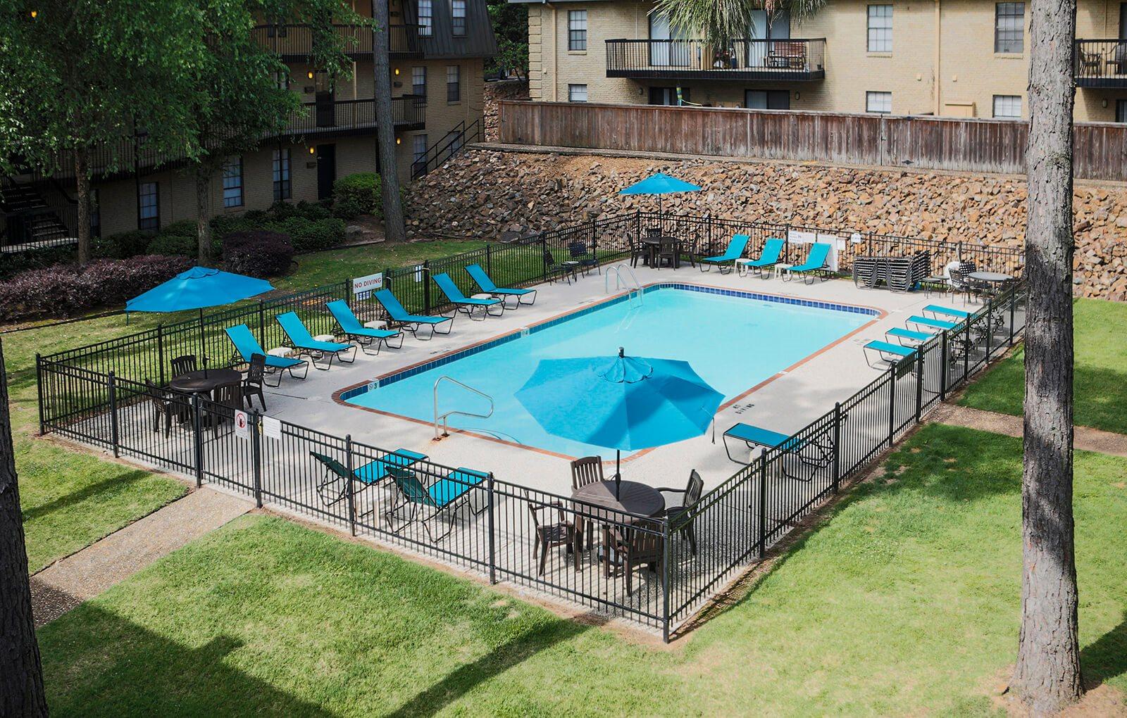 pool at apartment complex