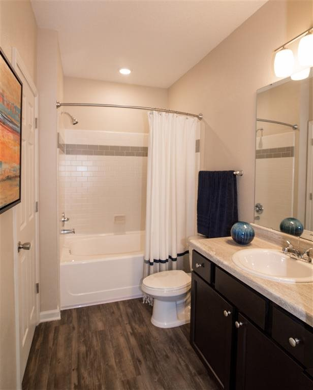 stylish bathroom: sink, toilet, and shower