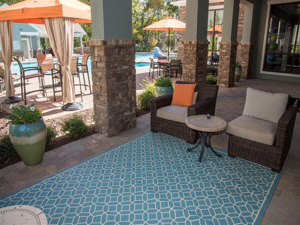 outside seating at resort style pool