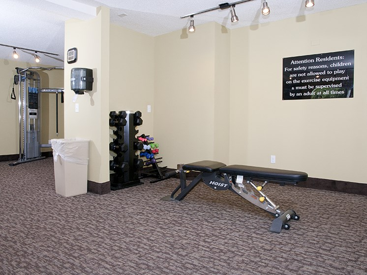 Fitness room with weight bench