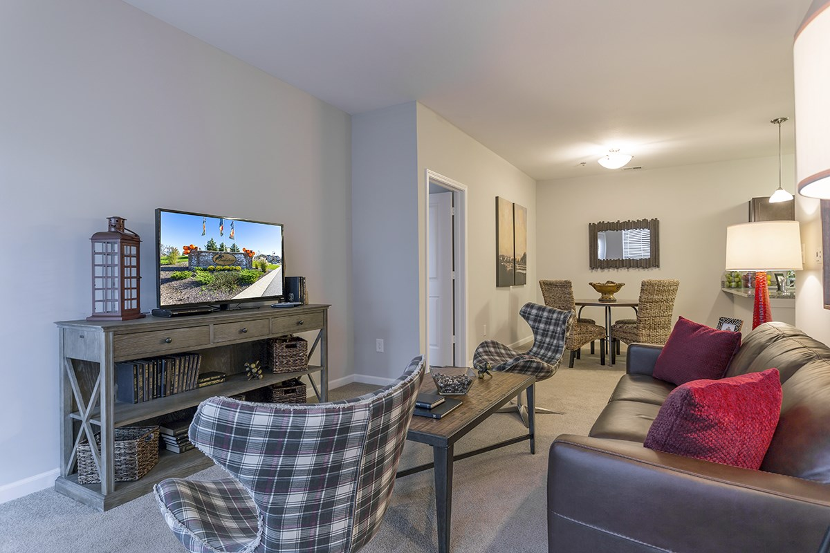 Living Room at Steeplechase at Parkview Apartments in Fort Wayne, IN