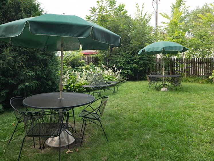 Outdoor seating with umbrellas