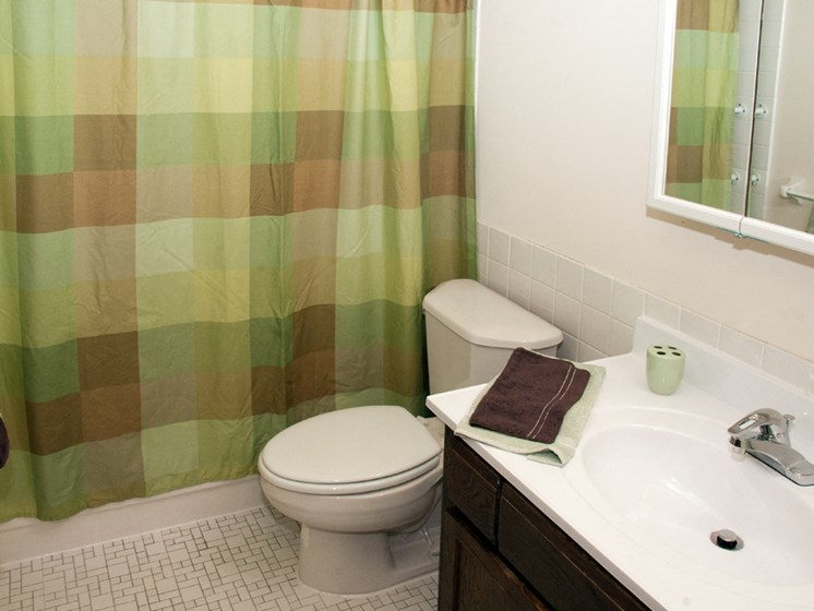 Bathroom with green curtain