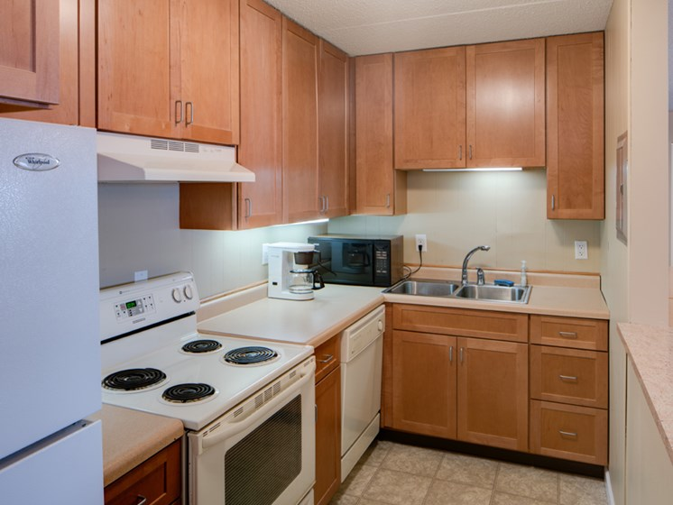 Kitchen with wooden cabinets