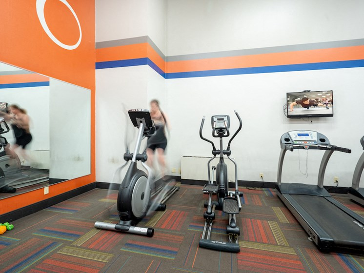 Fitness room with ellipticals and treadmills