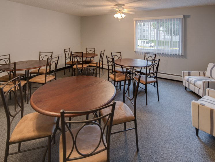 Community room with tables and chairs