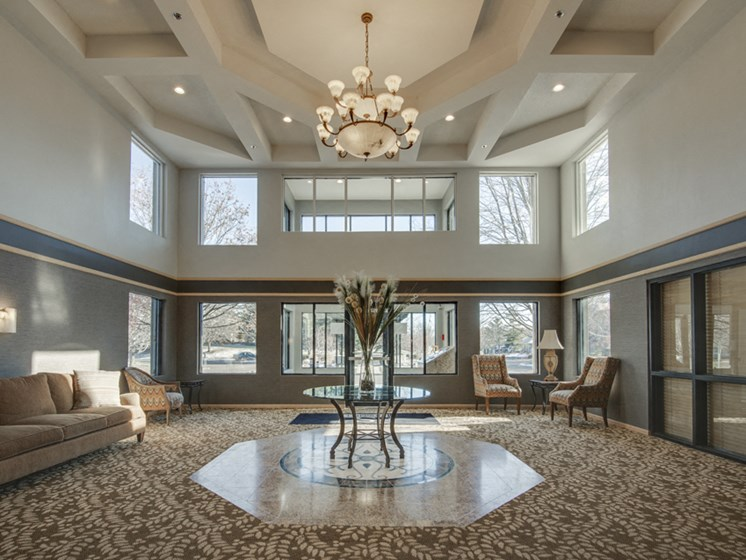 Regal lobby with tall ceiling and chandelier