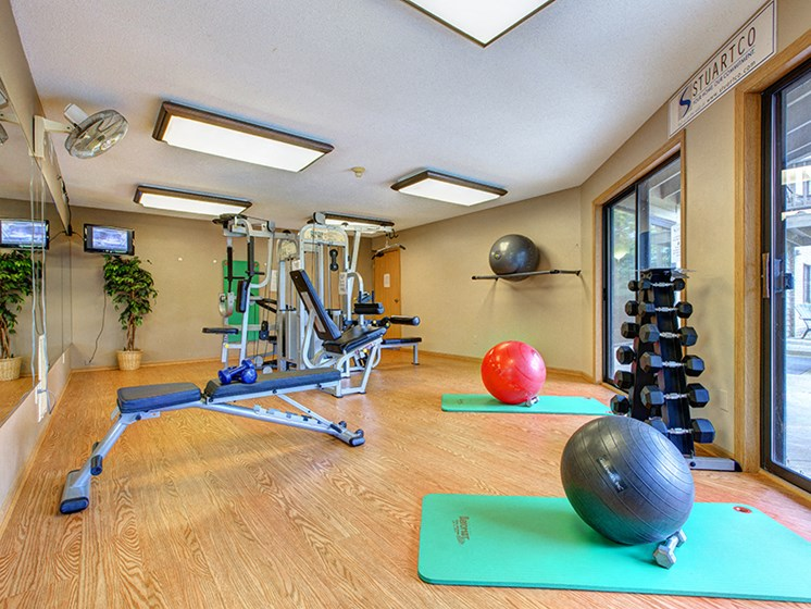 fitness room with exercise balls, yoga mat, and exercise equipment