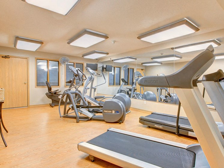 Fitness center with treadmills and other equipment