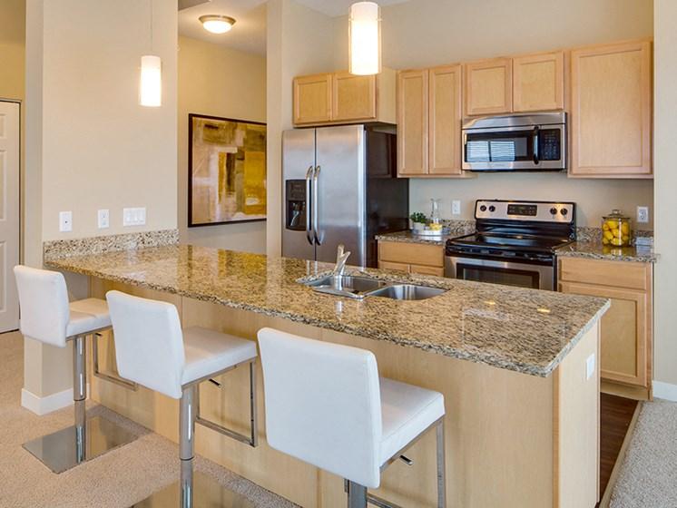 kitchen island with raised seats