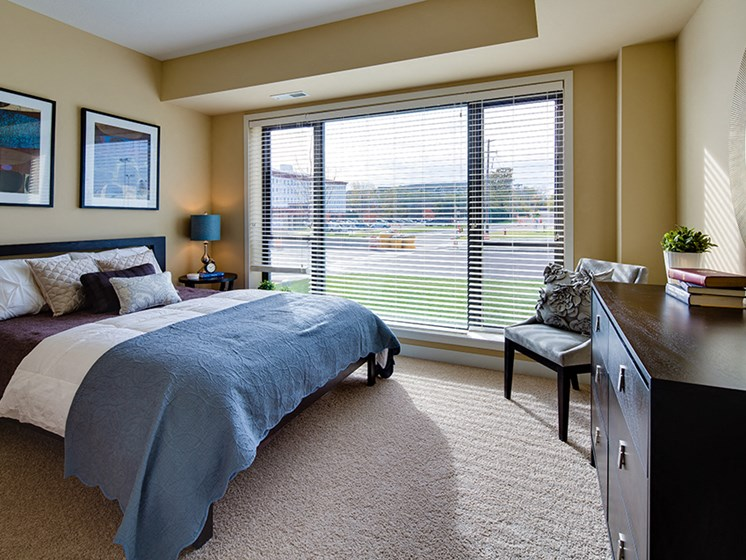 Bedroom with large bed, wooden dresser, artwork hanging up, and large window with the blinds open letting sunlight in