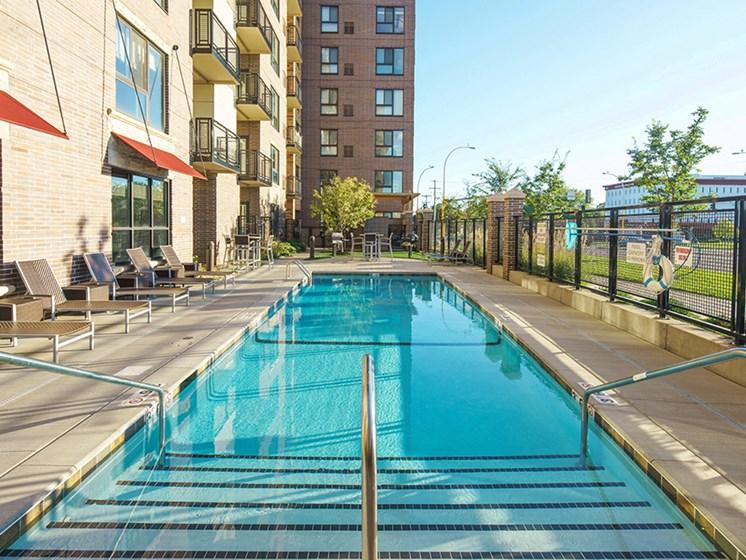 Long shot of outdoor pool