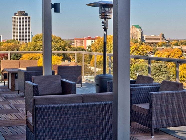 Rooftop patio overlooking the city