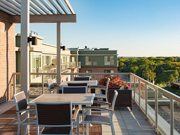 Rooftop patio with chairs