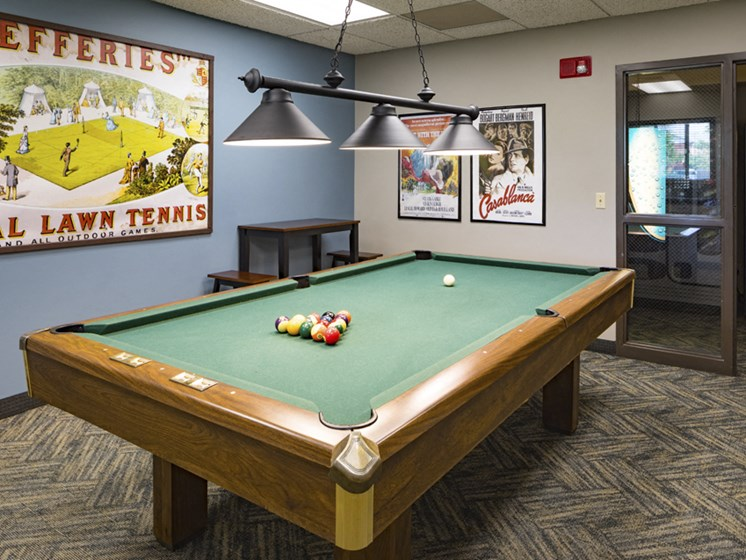 Rec room with a pool table
