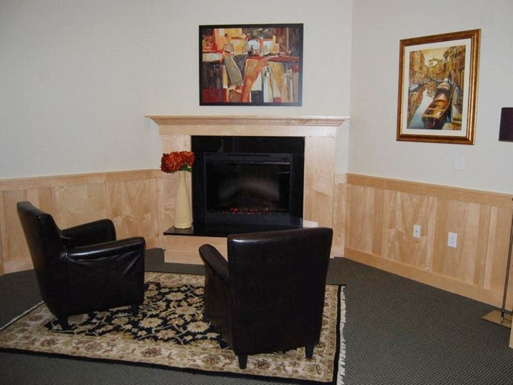 We have a cozy community room with a fireplace