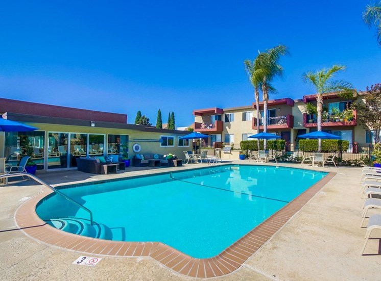Pool exterior and clubhouse - Mesa Vista Apartments