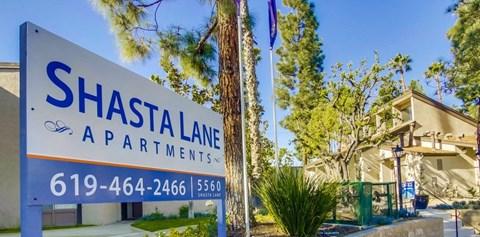 Shasta Lane Apartments Exterior Front Sign