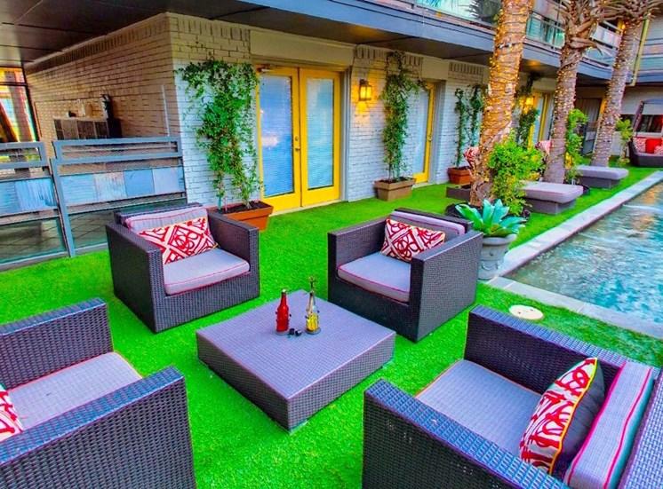 5908 Gaston Plaza Apartment Courtyard Lounging