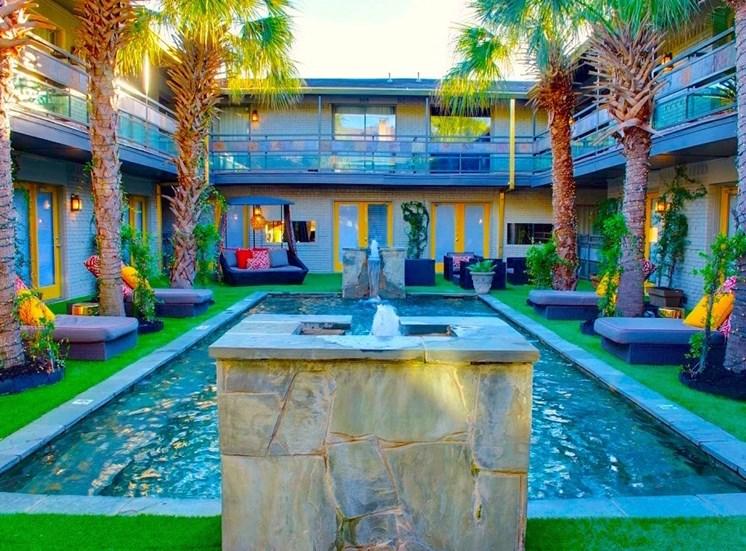 5908 Gaston Plaza Apartment Courtyard Pool And Waterfalls