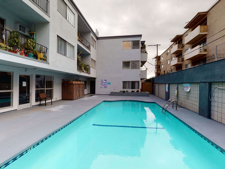 Front Pool View at Chateau La Fayette, Los Angeles, California