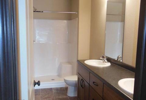 double vanity, master bathroom, bathroom