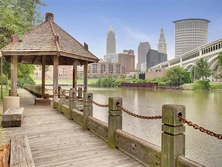 Bridge And Waterfront View at Stonebridge Waterfront, Ohio, 44113