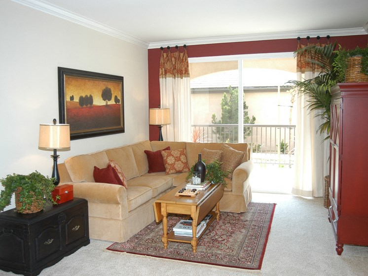 Living area with sliding glass doors to patio