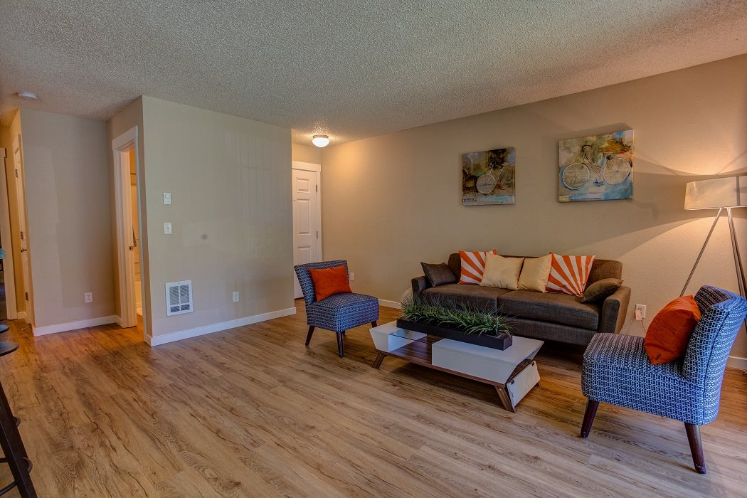 Hardwood Style Flooring at Commons at Timber Creek Apartments, Portland, OR 97229