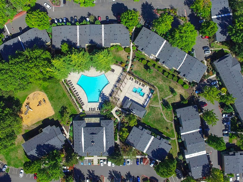Overview of Clubhouse, Pool, and Grounds at Commons at Timber Creek, Oregon, 97229