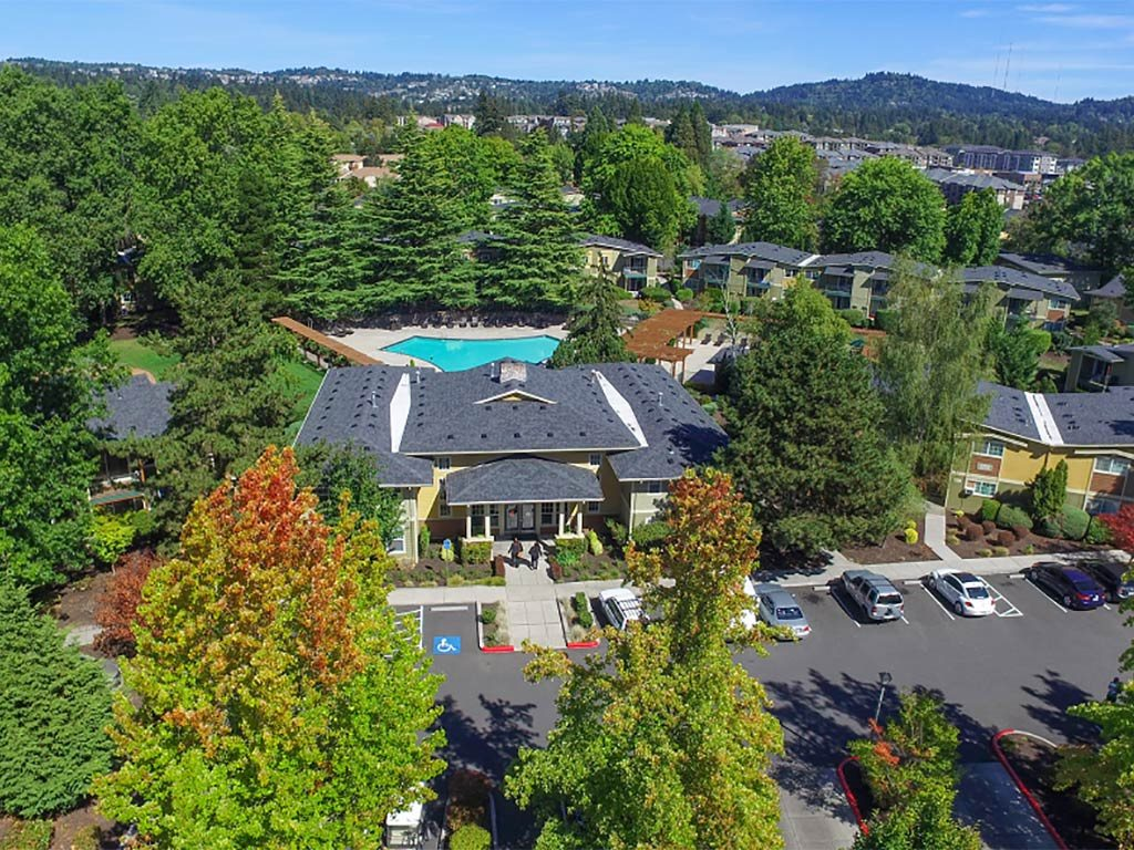 Aerial View of Clubhouse and Pool at Commons at Timber Creek, Portland, OR 97229