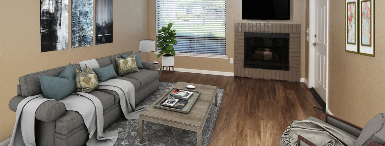Furnished Living room with fireplace and window The Vue at Rocklin Ridge l Rocklin CA 95677