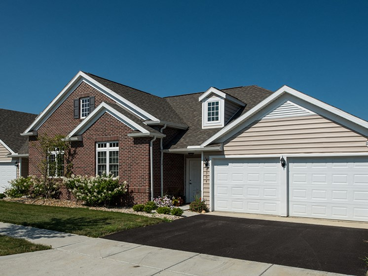 New Albany OH Apartment Rentals Redwood Neighborhoods Exterior with Attached 2 Car Garage