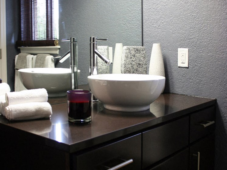 Vessle style sinks with brand new cabinets at Johnson Med Center in Kansas City, KS