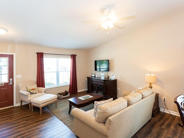 Dublin Ohio Apartment Rentals Redwood Dublin Living Room to Patio Redwood Living