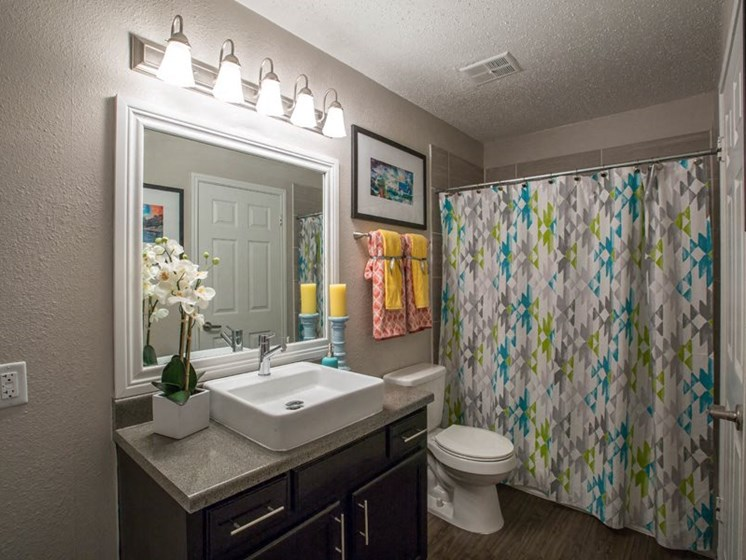 Renovated Bathrooms With Quartz Counters at Balcones Club, Austin, TX, 78750