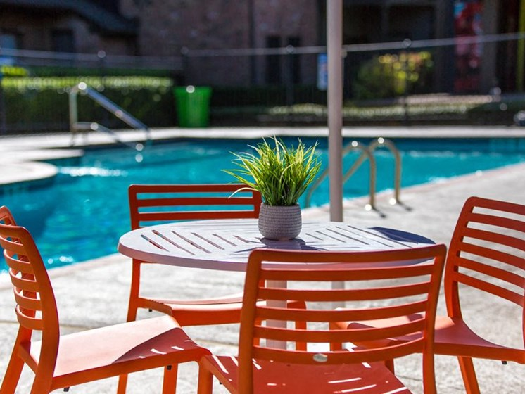 Poolside Dining Tables at Balcones Club, Austin, TX, 78750