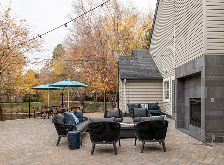 Outdoor courtyard with fire pit at Edgewater Apartments, Boise, ID
