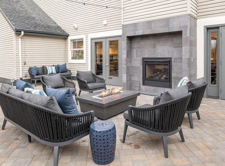 Outdoor courtyard with fire pit at Edgewater Apartments, Boise, Idaho