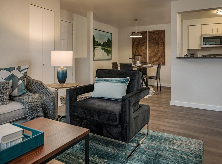 Living Room With Kitchen View at Edgewater Apartments, Boise, ID, 83703