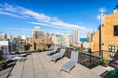 Roof Deck and Entertainment Bar at 14 West Elm Apartments, Illinois, 60610