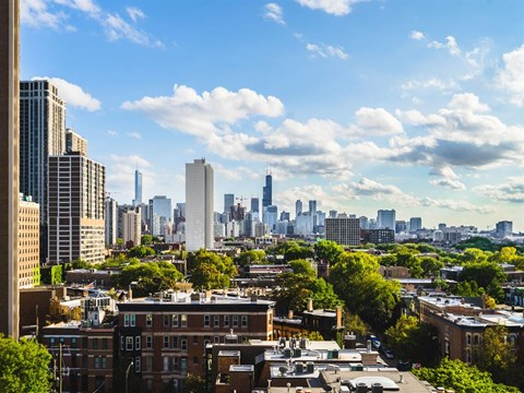 Roof Deck City View at Park View Apartments, Chicago, 60614